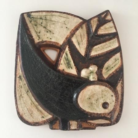 RETRO - Søholm fugle relief, keramik